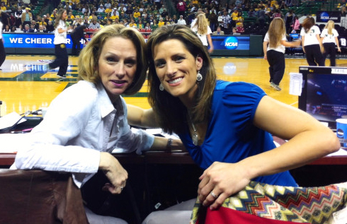 Waco, TX (March 24, 2013) Beth Mowins and Stephanie White (right) during the NCAA Tournament. Photo: Cheryl Coward.