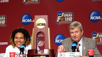 Danielle Adams and Gary Blair after Texas A&amp;M's victory at the 2011 NCAA Championships.