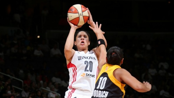 WASHINGTON, DC - JULY 25:  Kara Lawson of the Washington Mystics shoots against Angel Goodrich of the Tulsa Shock at the Verizon Center on July 25, 2014 in Washington, DC. Photo: Ned Dishman/NBAE.