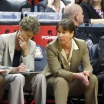 Tara VanDerveer and her staff during the 2011 Final Four