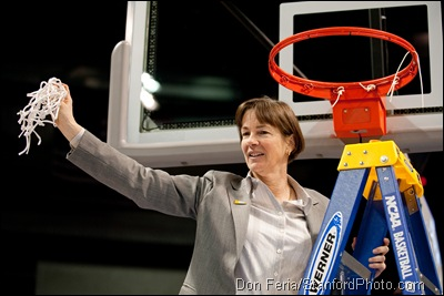 SPOKANE, WA - MARCH 28, 2011: Tara VanDerveer at the Stanford Women's Basketball vs Gonzaga, NCAA West Regional Finals at the Spokane Arena on March 28, 2011.