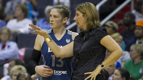 Lindsay Whalen and Minnesota Lynx coach Cheryl Reeve. Photo: Mark W. Sutton, all rights reserved.