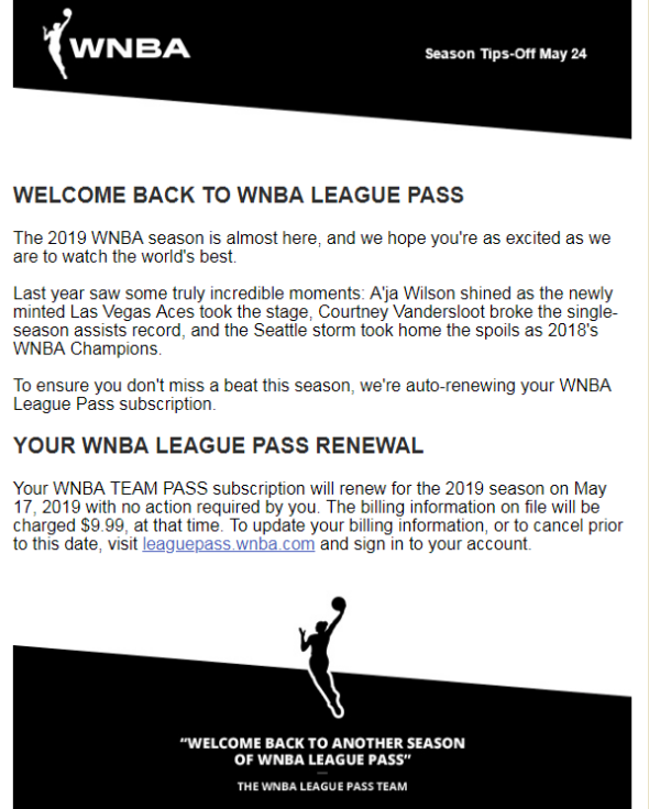 WNBA makes pricing mistake with League Pass renewal